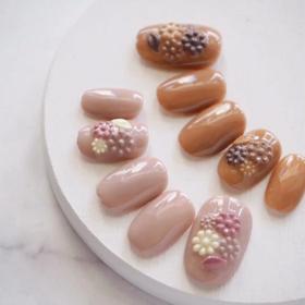 ネイルレシピ  no.024《チョコレート色レリーフネイル》の画像